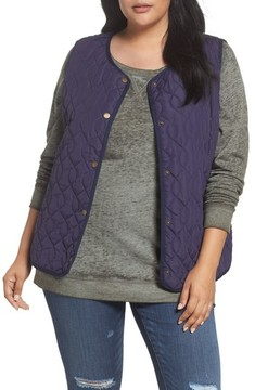 Caslon Plus Size Women's Collarless Quilted Vest