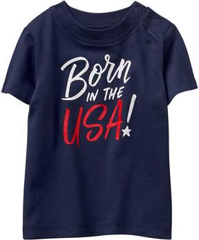 Gymboree Gym Navy & Sailboat 'Born in the USA' Tee - Newborn & Infant