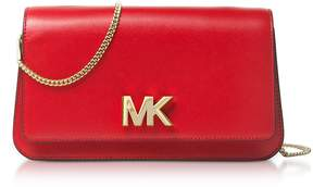Michael Kors Mott Large Bright Red Leather Clutch - RED - STYLE