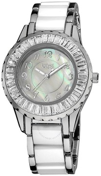 Burgi White Mother Of Pearl Dial White Ceramic And Metal Ladies Watch