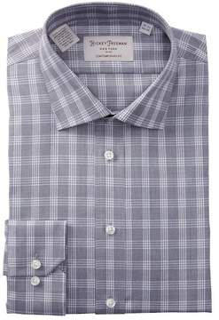 Hickey Freeman Check Print Contemporary Fit Dress Shirt