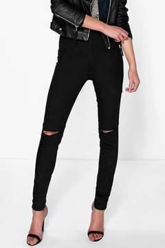 boohoo Lara High Waisted Knee Rip Jeans