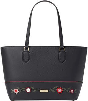 Kate Spade Black Embroidered Floral Laurel Way Dally Leather Tote