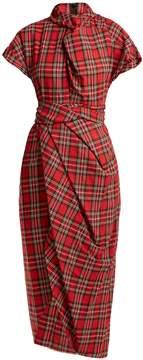 Awake High-neck draped tartan cotton dress