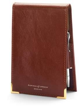 Aspinal of London Pocket Memo Pad In Smooth Cognac Stone Suede