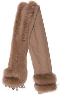 Adrienne Landau Cashmere Fur-Trimmed Shawl