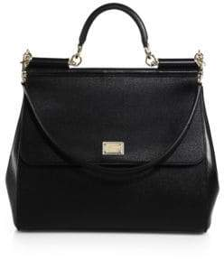Dolce & Gabbana Large Sicily Leather Top Handle Satchel - NERO-BLACK - STYLE