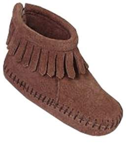 Minnetonka Unisex Infant Back Flap Bootie Brown Suede Size 3 M.