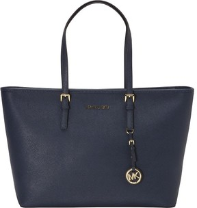 MICHAEL Michael Kors Jet Set Travel Top-Zip Tote - NAVY / GOLD - STYLE