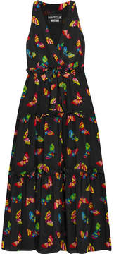 Moschino Printed Silk Crepe De Chine Midi Dress - Black