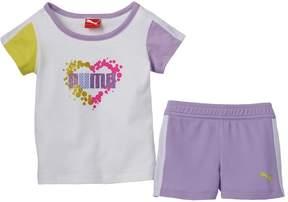 Puma Toddler Girl Heart Splatter Tee & Shorts Set
