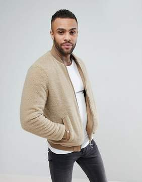 Pull&Bear Faux Shearling Bomber Jacket In Light Brown
