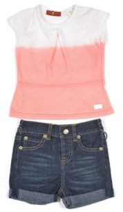 7 For All Mankind Baby's, Toddler's, & Little Girl's Two-Piece Flutter Top & Shorts Set