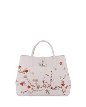 Longchamp Roseau Floral Small Leather Tote Bag, Pink - PINK - STYLE