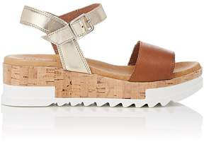 Barneys New York WOMEN'S LEATHER PLATFORM-WEDGE SANDALS