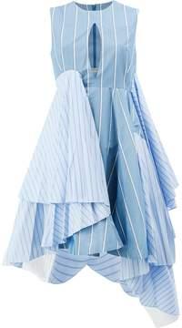 Facetasm striped flared asymmetric dress