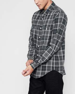 7 For All Mankind Long Sleeve Brushed Plaid Shirt in Charcoal