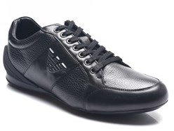 Emporio Armani Men's Leather Ga Logo Sneakers Shoes Black.