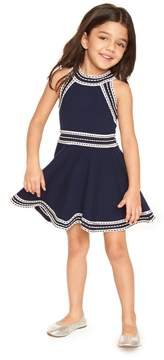 Milly MINIS WOVEN TRIM FLARE DRESS