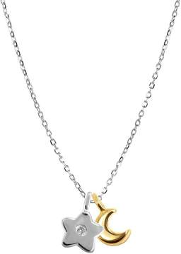 Alex Woo Women's Silver Mini Star and Moon Pendant Necklace