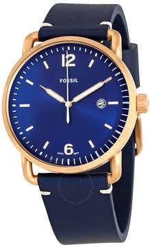 Fossil Commuter Blue Dial Navy Blue Leather Men's Watch