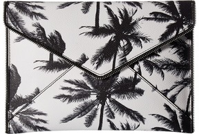 Rebecca Minkoff Palm Tree Leo Clutch Clutch Handbags - BLACK/WHITE - STYLE