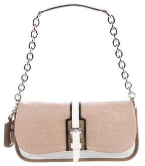 Longchamp Embossed Chain-Link Flap Bag