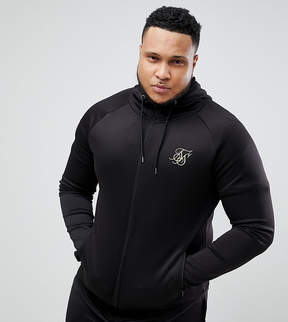 SikSilk PLUS Track Hoodie In Black With Gold Logo Exclusive to ASOS