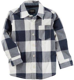 Osh Kosh Boys 4-12 Checked Plaid Button Down Shirt