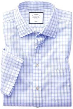 Charles Tyrwhitt Classic Fit Non-Iron Natural Cool Short Sleeve Sky Blue Check Cotton Dress Shirt Size 16.5/Short