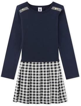 Petit Bateau Girl's dual fabric dress