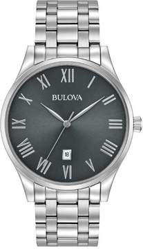 Bulova Classic 96B261 Gunmetal/Silver Analog Quartz Unisex Watch