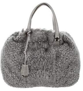 Ermanno Scervino Snakeskin-Trimmed Knit Bag