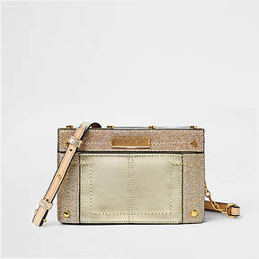 River Island Gold metal small boxy cross body bag