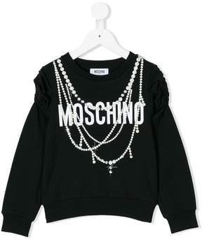 Moschino Kids logo and pearl print sweatshirt