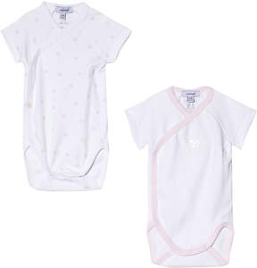 Absorba 2 Pack of Pink and White Spot Printed Short Sleeve Bodies