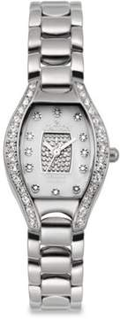 Croton Ladies Silvertone Quartz Watch with 12 Diamond Markers & Crystal Bezel
