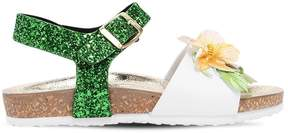 MonnaLisa Floral Glittered Faux Leather Sandals