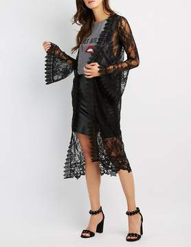 Charlotte Russe Crochet-Trim Lace Bell Sleeve Duster