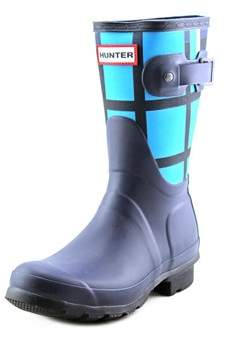 Hunter Women's Original Short Tartan Round Toe Synthetic Rain Boot.