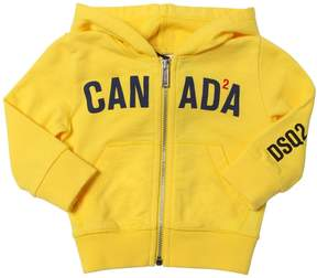 DSQUARED2 Canada Printed Zip-Up Cotton Sweatshirt