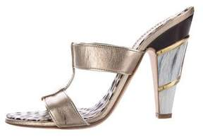 Roberto Cavalli Metallic Slide Sandals