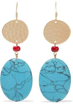 Kenneth Jay Lane Hammered Gold-Tone Bead And Stone Earrings