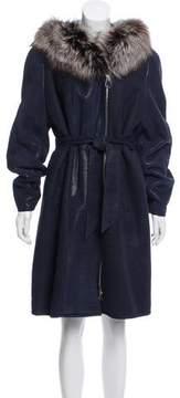 Bloomingdale's Fur-Trimmed Leather Coat
