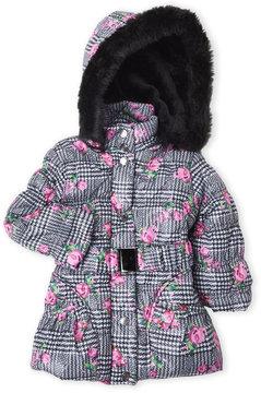 Urban Republic Toddler Girls) Faux Fur Floral Belted Puffer Jacket