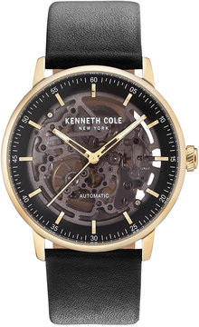 Kenneth Cole New York Men's Automatic Skeleton Black Leather Strap Watch 42mm