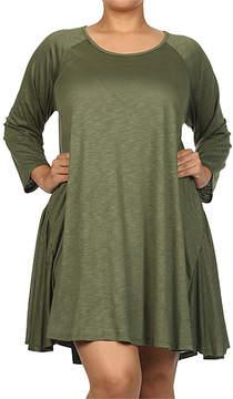 Canari Olive Raglan Shift Dress - Plus