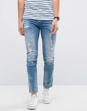 ONLY & SONS Jeans in Slim Fit with Heavy Repair Detail