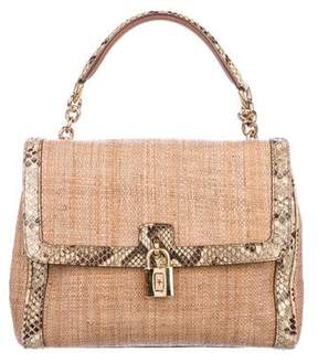 Dolce & Gabbana Python-Trimmed Woven Bag
