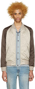 Marc Jacobs Beige and Brown Bomber Jacket